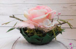 Handgefertigte Blattschale mit rosa Blume