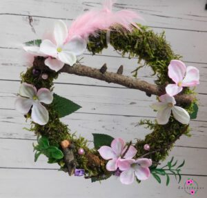 Türkranz mit rosa Hortensie