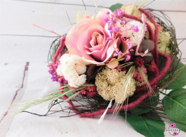 Kunstblumenstrauß in rosa und lila